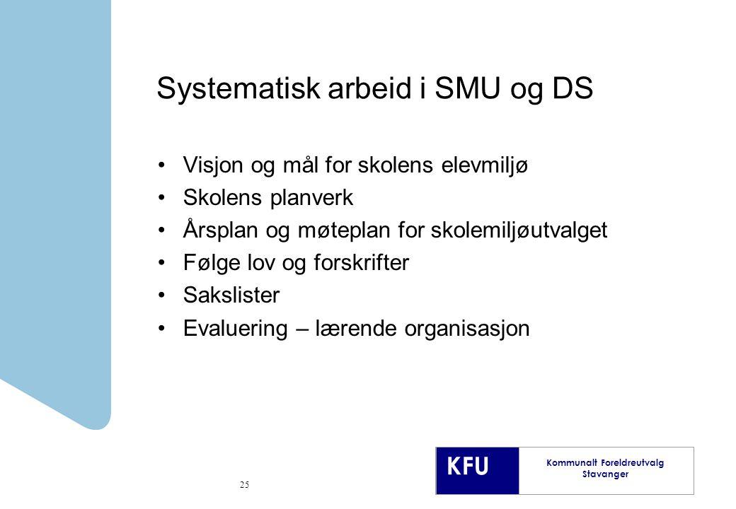 Systematisk arbeid i SMU og DS