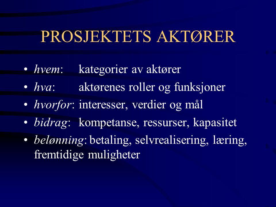 PROSJEKTETS AKTØRER hvem: kategorier av aktører