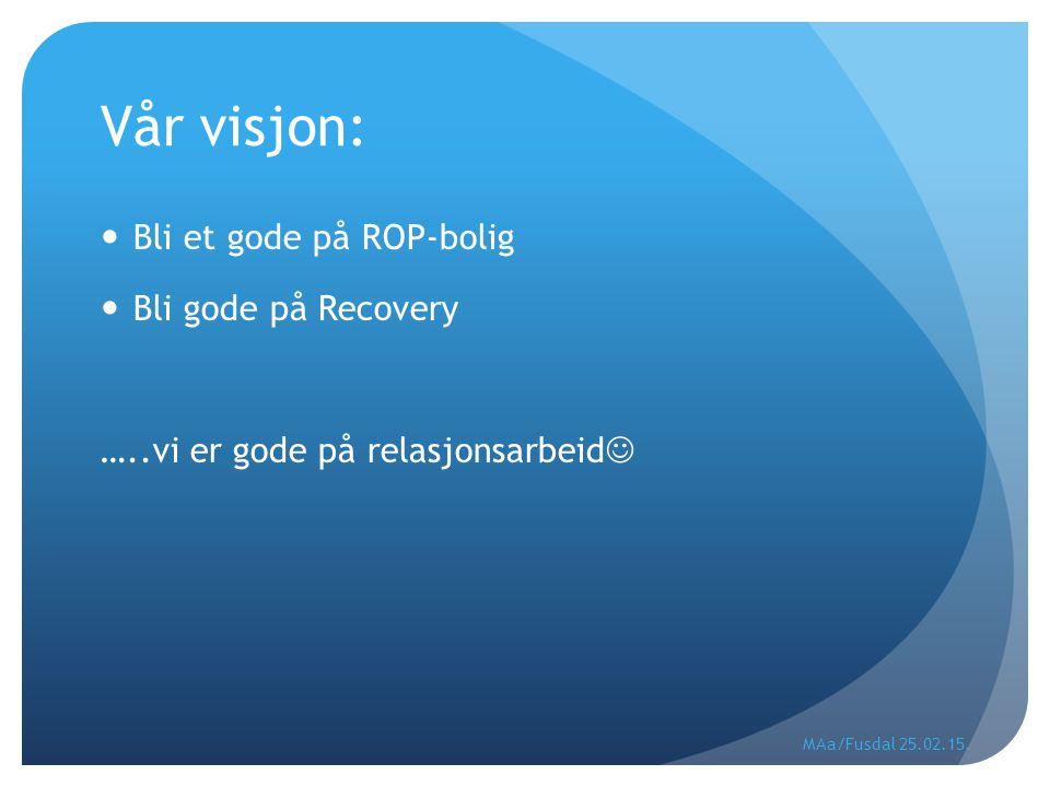 Vår visjon: Bli et gode på ROP-bolig Bli gode på Recovery