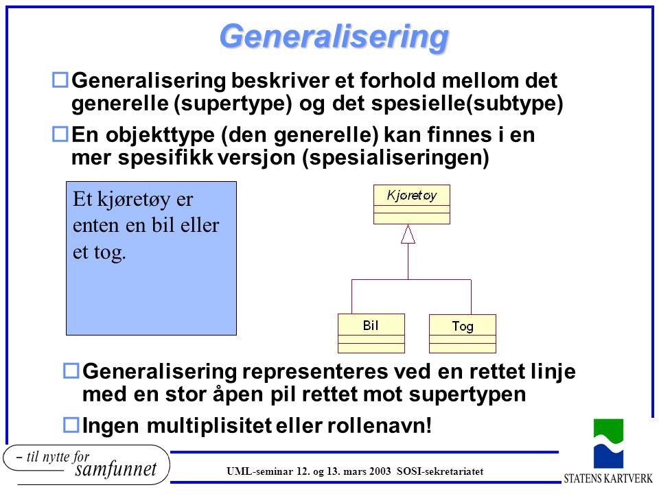 Generalisering Generalisering beskriver et forhold mellom det generelle (supertype) og det spesielle(subtype)
