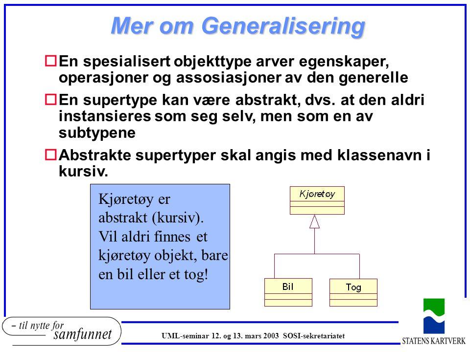 Mer om Generalisering En spesialisert objekttype arver egenskaper, operasjoner og assosiasjoner av den generelle.
