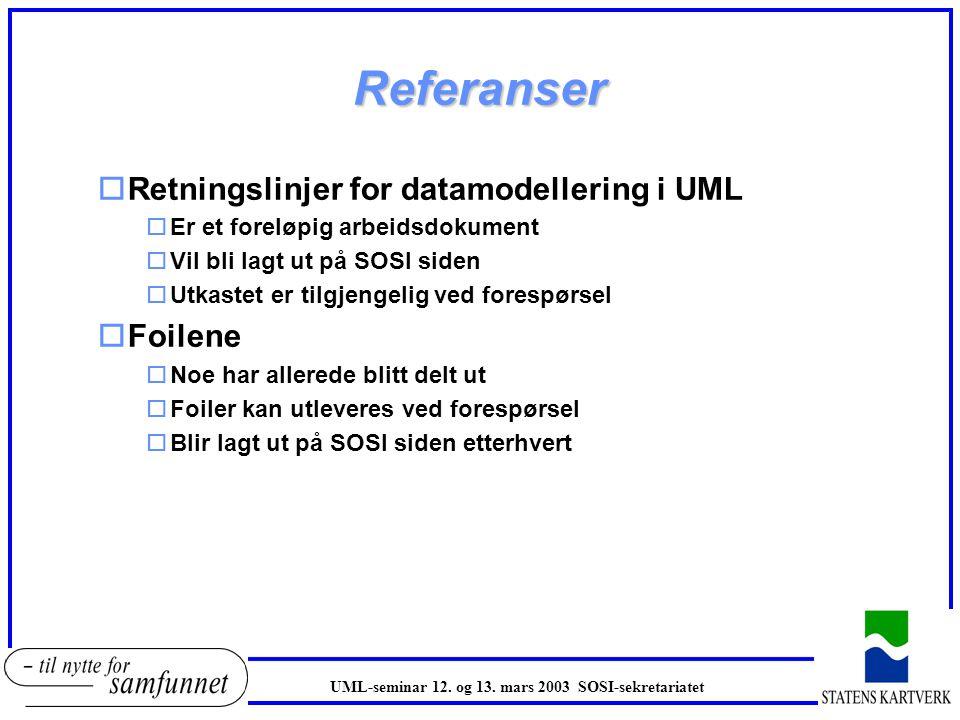 Referanser Retningslinjer for datamodellering i UML Foilene