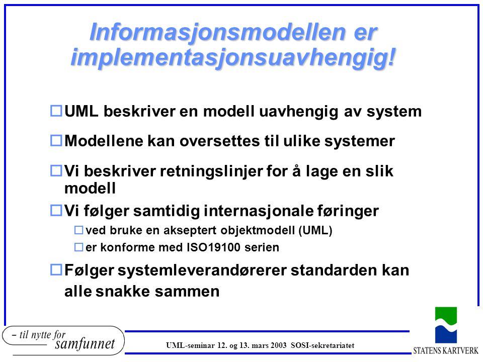 Informasjonsmodellen er implementasjonsuavhengig!