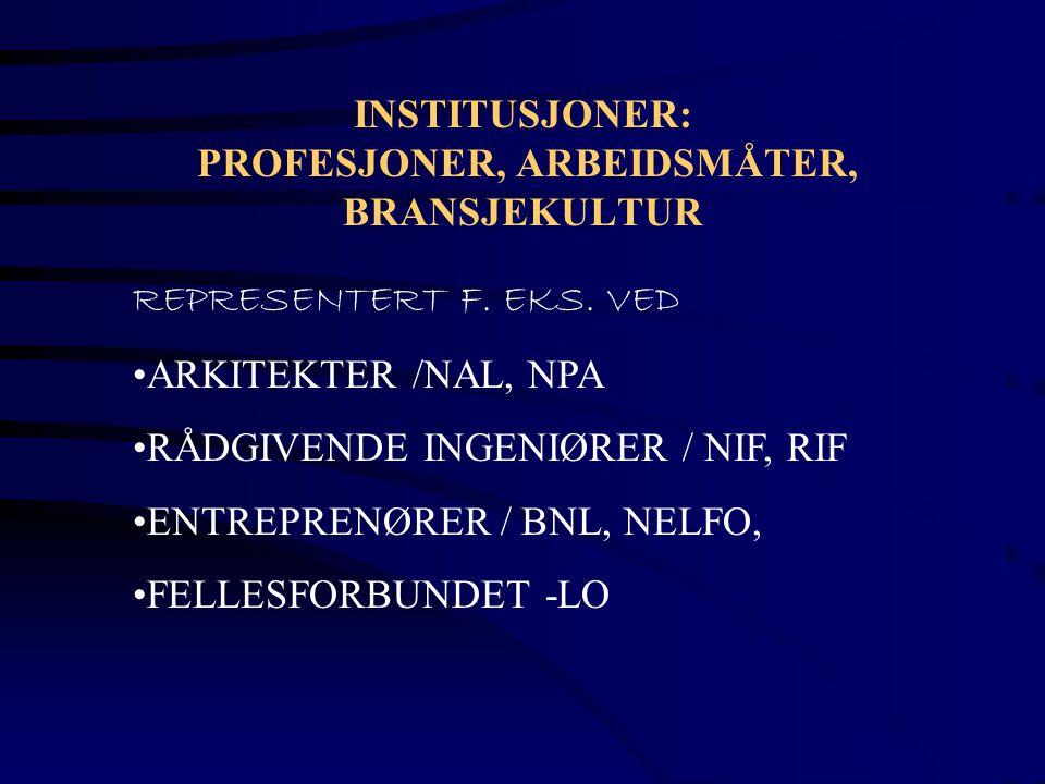 INSTITUSJONER: PROFESJONER, ARBEIDSMÅTER, BRANSJEKULTUR
