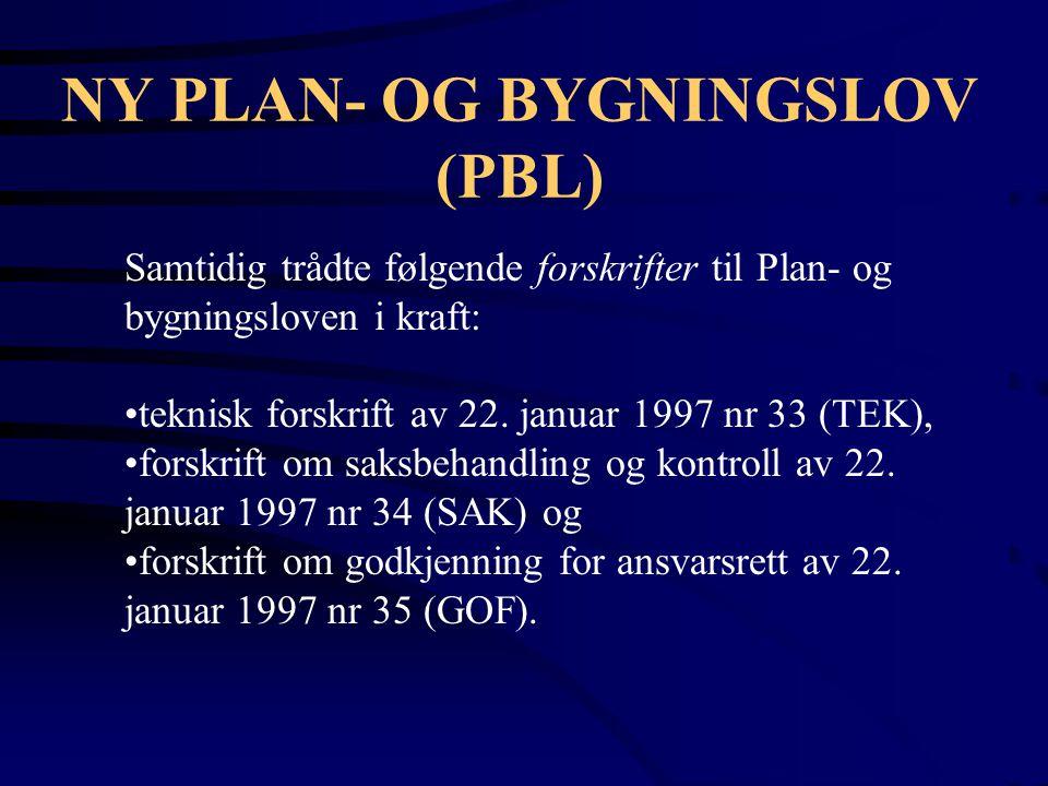 NY PLAN- OG BYGNINGSLOV (PBL)
