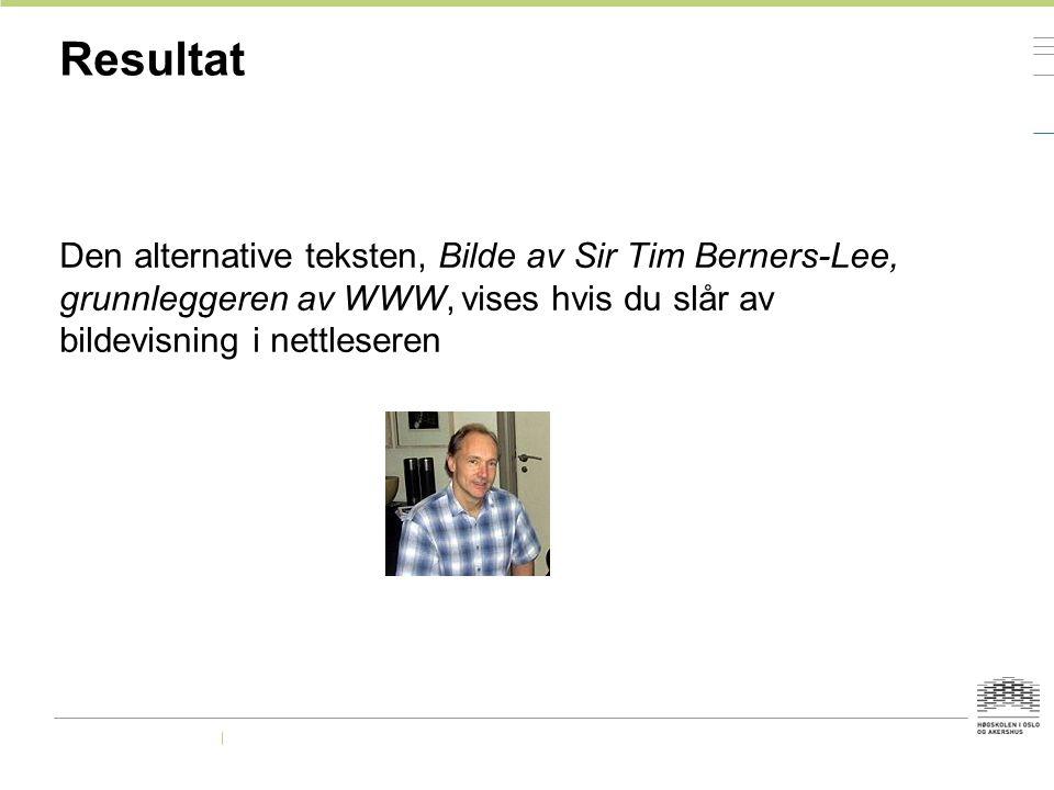 Resultat Den alternative teksten, Bilde av Sir Tim Berners-Lee, grunnleggeren av WWW, vises hvis du slår av bildevisning i nettleseren.