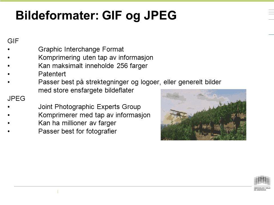 Bildeformater: GIF og JPEG