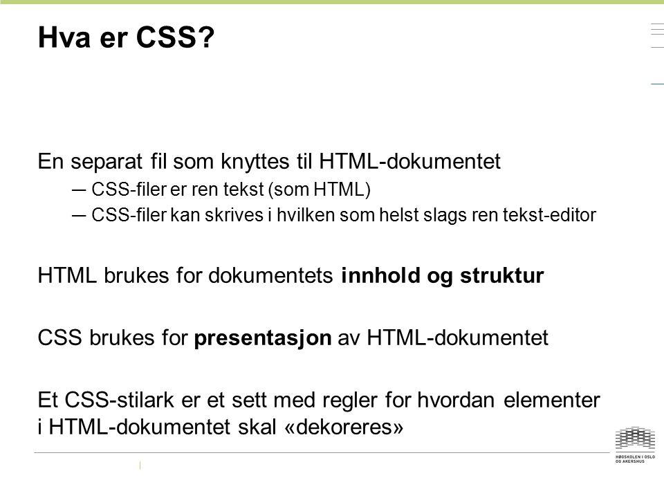 Hva er CSS En separat fil som knyttes til HTML-dokumentet