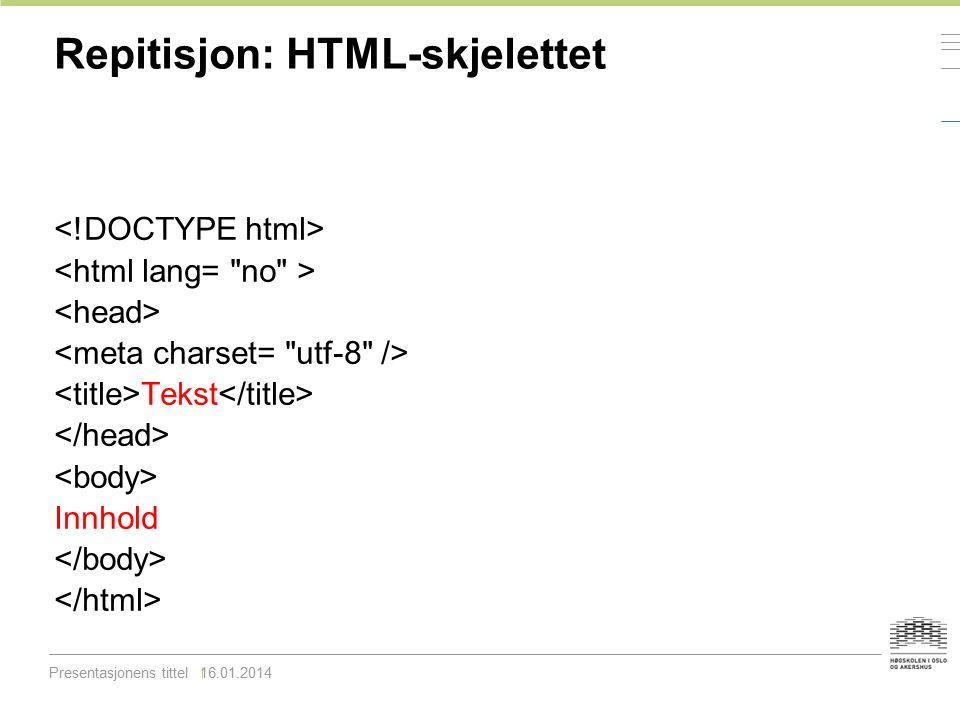 Repitisjon: HTML-skjelettet