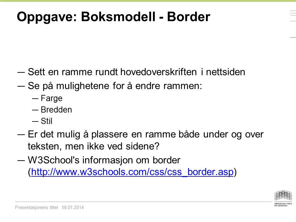 Oppgave: Boksmodell - Border