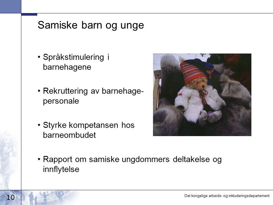 Samiske barn og unge Språkstimulering i barnehagene