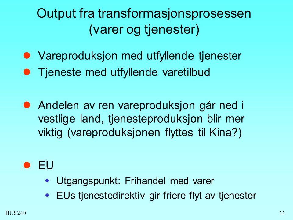 Output fra transformasjonsprosessen (varer og tjenester)