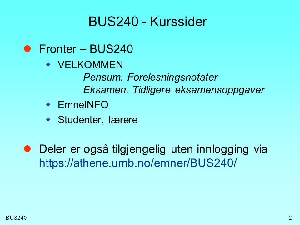 BUS240 - Kurssider Fronter – BUS240