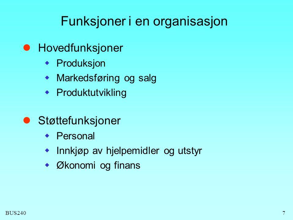 Funksjoner i en organisasjon