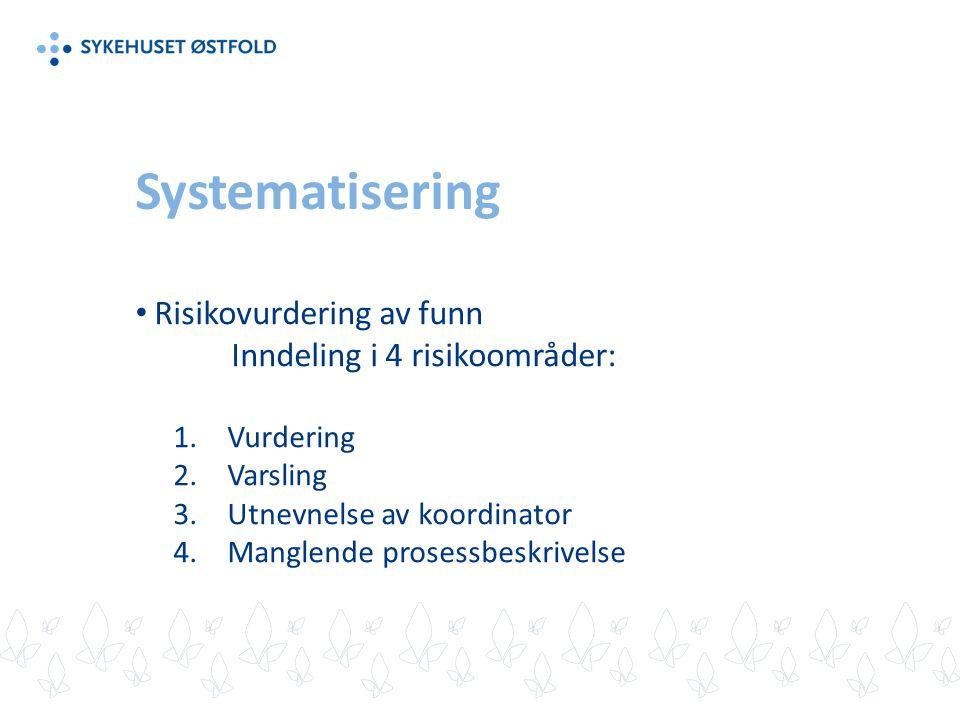 Systematisering Risikovurdering av funn Inndeling i 4 risikoområder: