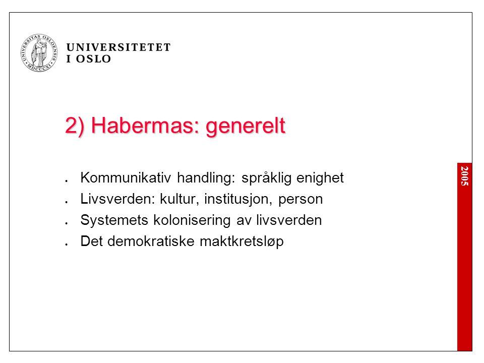 2) Habermas: generelt Kommunikativ handling: språklig enighet