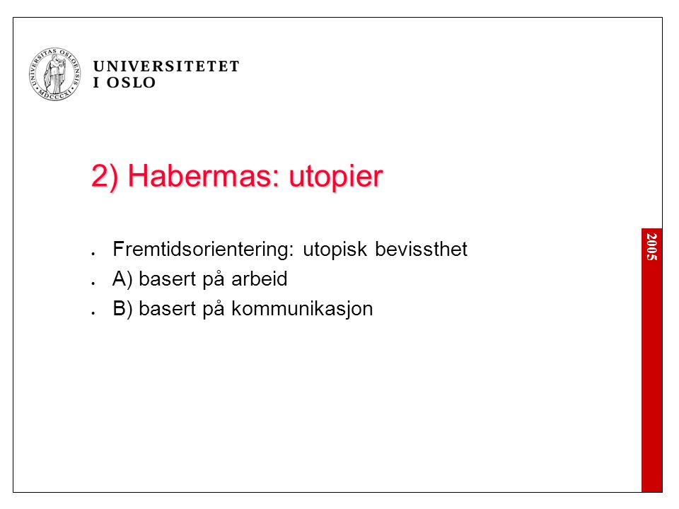 2) Habermas: utopier Fremtidsorientering: utopisk bevissthet