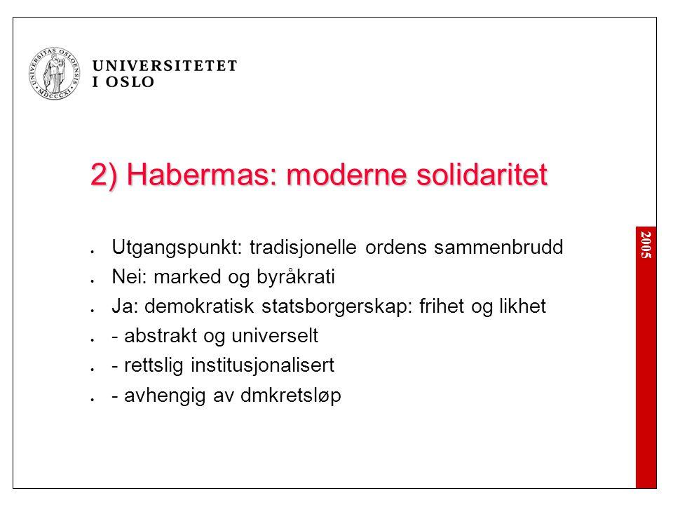 2) Habermas: moderne solidaritet