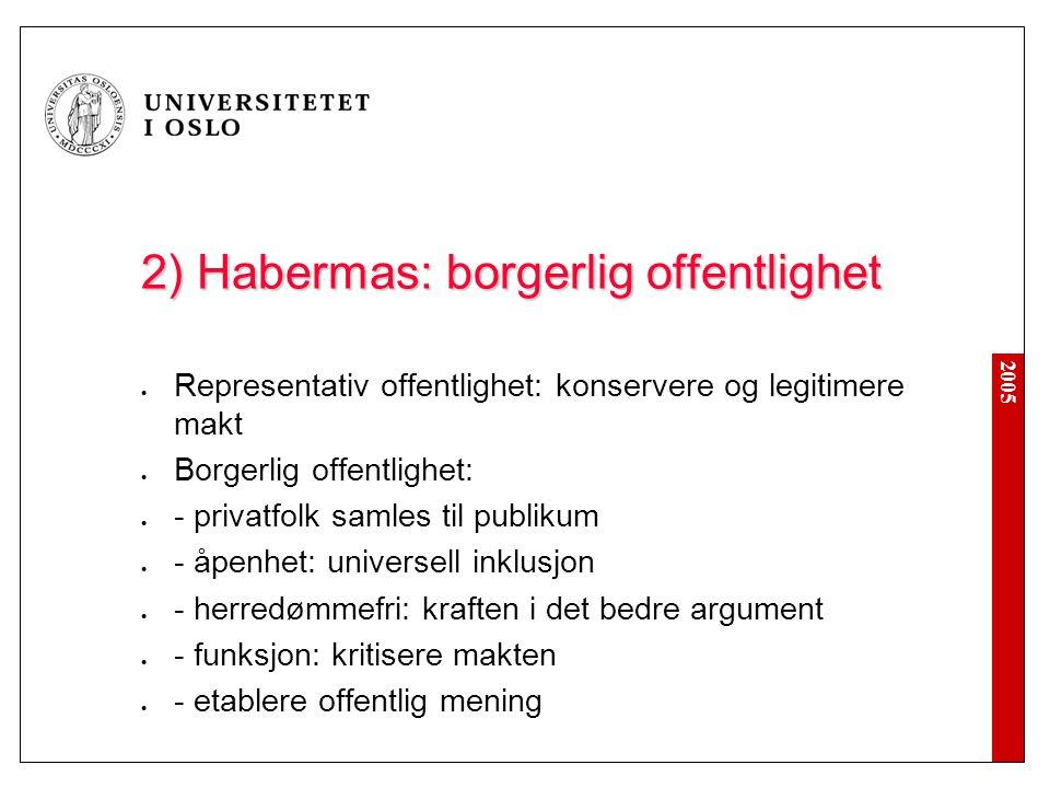 2) Habermas: borgerlig offentlighet