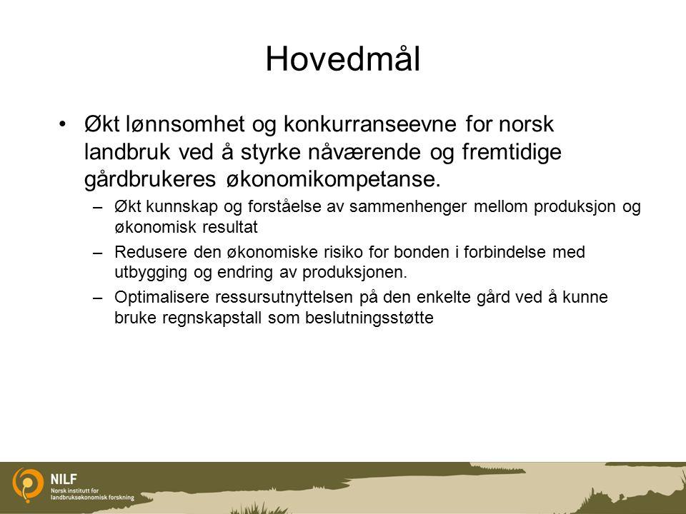 Hovedmål Økt lønnsomhet og konkurranseevne for norsk landbruk ved å styrke nåværende og fremtidige gårdbrukeres økonomikompetanse.