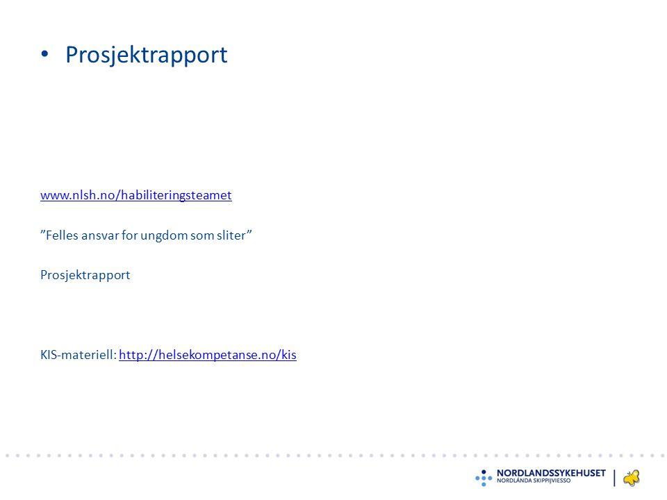 Prosjektrapport www.nlsh.no/habiliteringsteamet Felles ansvar for ungdom som sliter Prosjektrapport KIS-materiell: http://helsekompetanse.no/kis