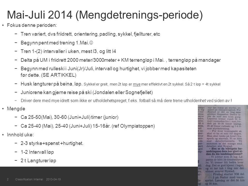 Mai-Juli 2014 (Mengdetrenings-periode)
