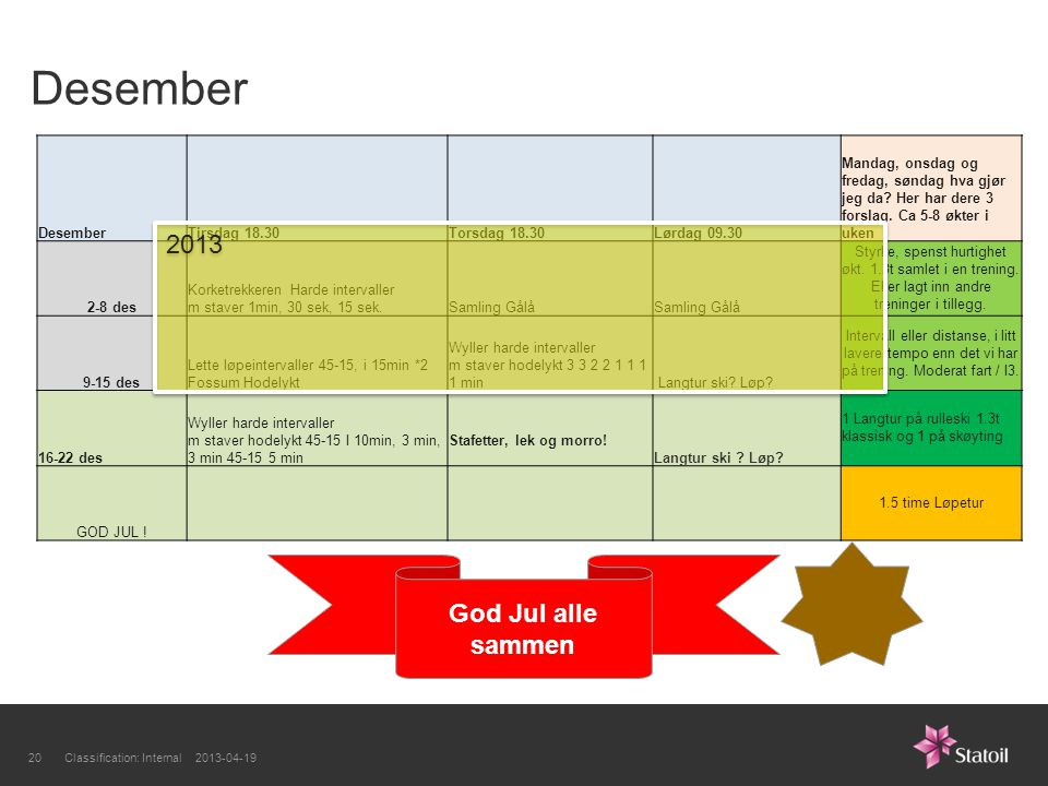 Desember 2013 God Jul alle sammen Desember Tirsdag 18.30 Torsdag 18.30