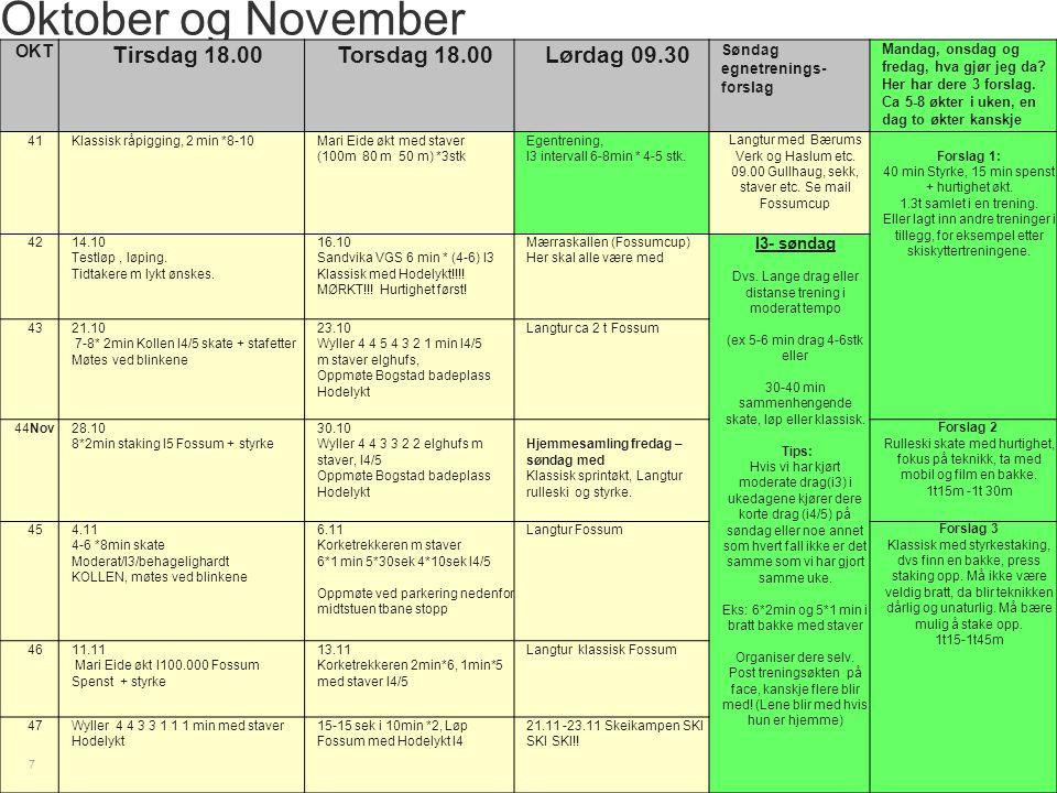Oktober og November Tirsdag 18.00 Torsdag 18.00 Lørdag 09.30 OKT