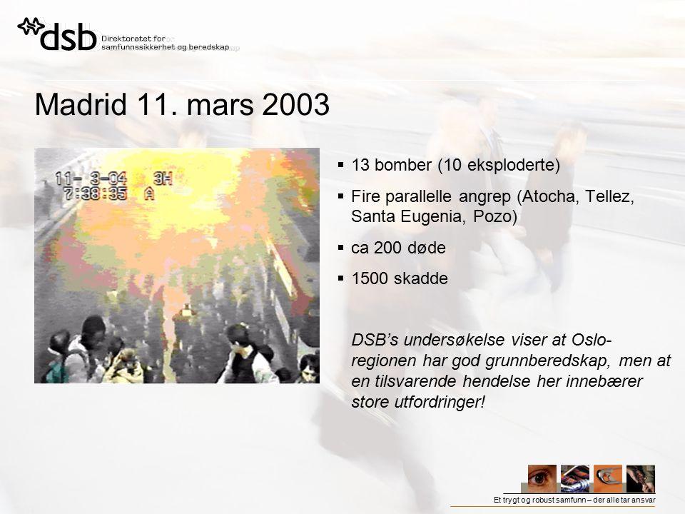 Madrid 11. mars 2003 13 bomber (10 eksploderte)