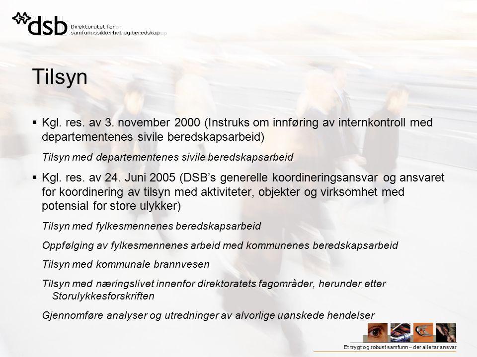Tilsyn Kgl. res. av 3. november 2000 (Instruks om innføring av internkontroll med departementenes sivile beredskapsarbeid)