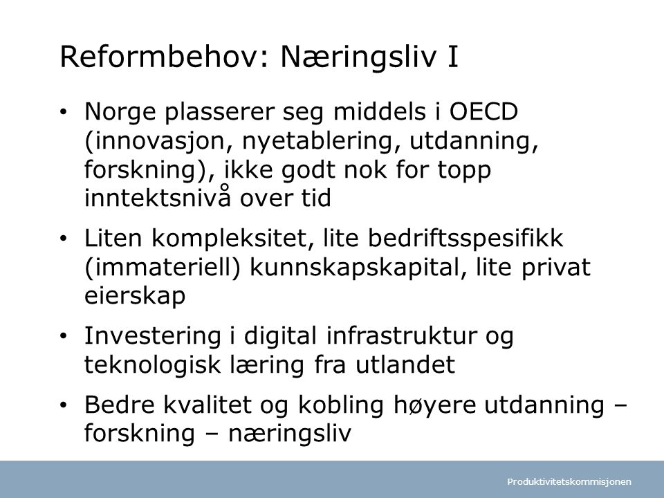 Reformbehov: Næringsliv I