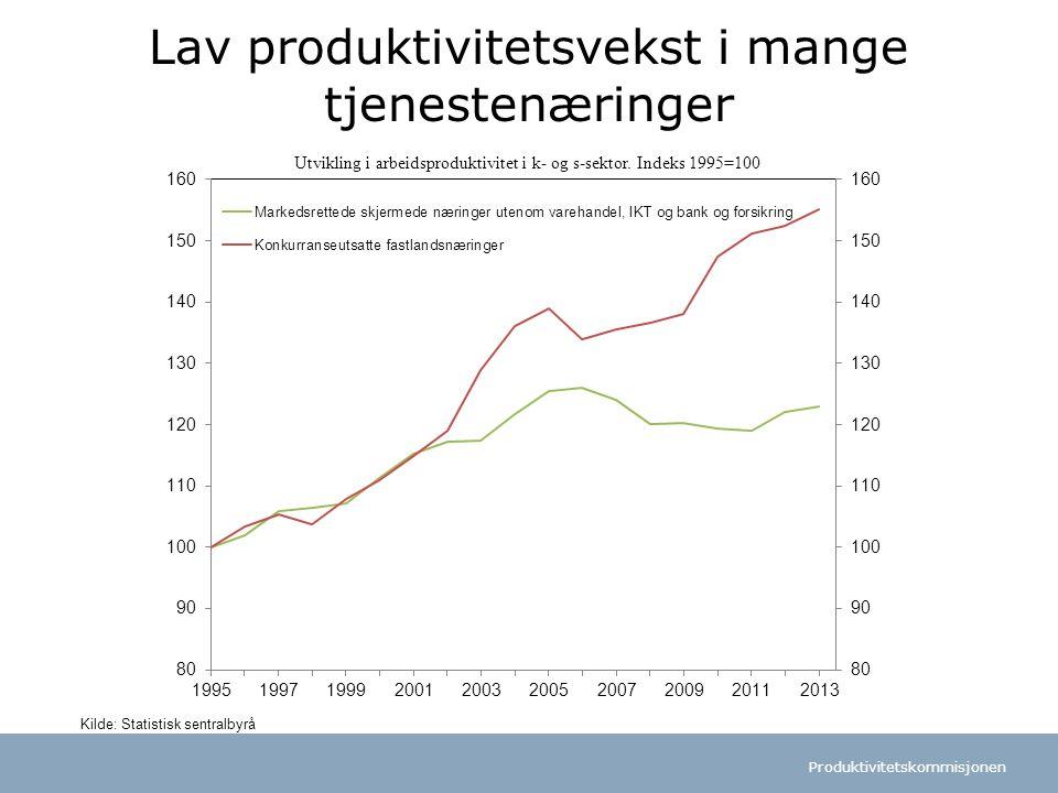 Lav produktivitetsvekst i mange tjenestenæringer