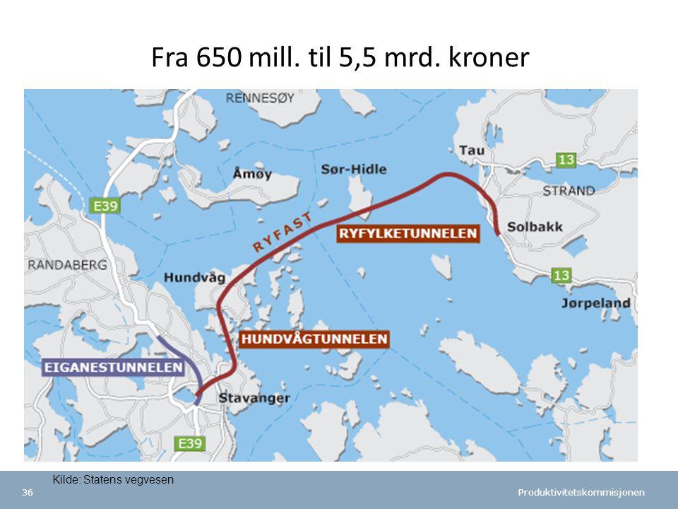 Fra 650 mill. til 5,5 mrd. kroner Kilde: Statens vegvesen