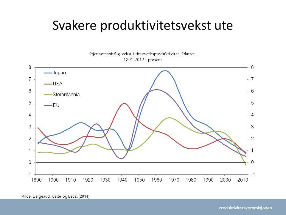 Svakere produktivitetsvekst ute
