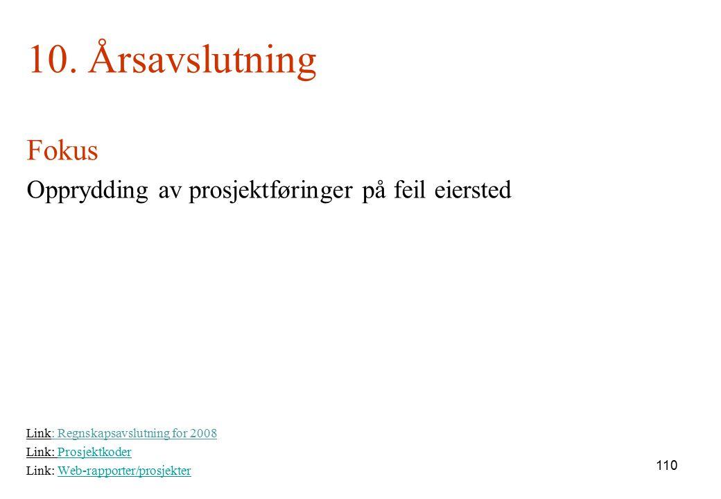 10. Årsavslutning Fokus. Opprydding av prosjektføringer på feil eiersted. Link: Regnskapsavslutning for 2008.
