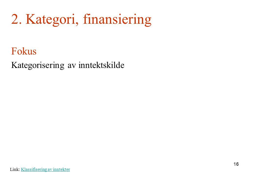 2. Kategori, finansiering