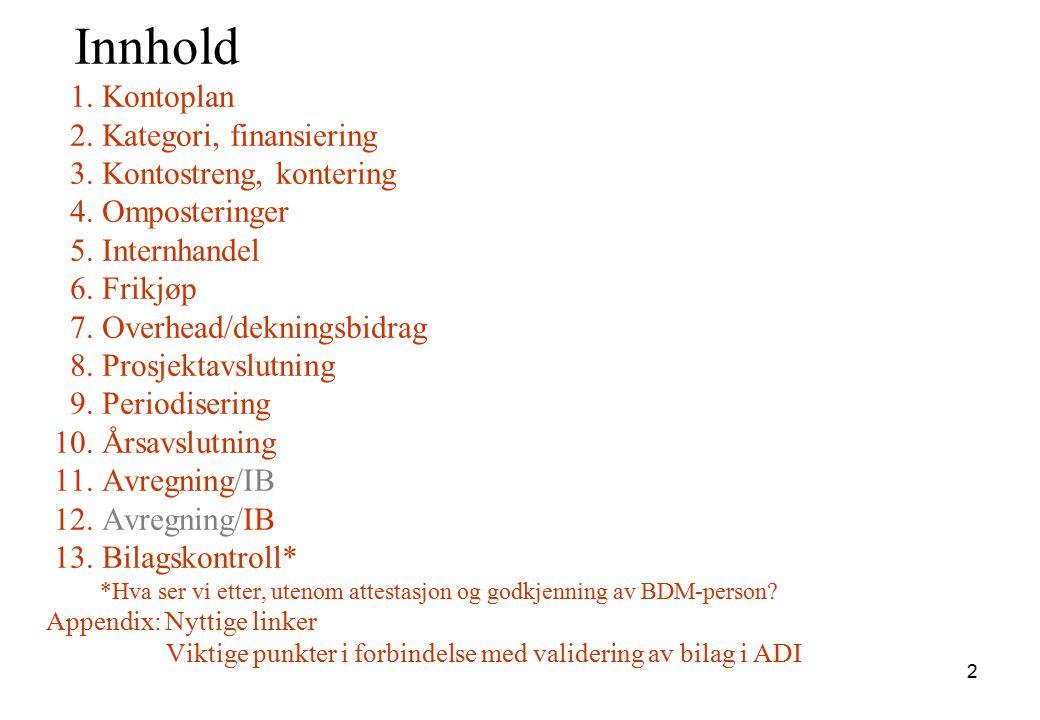 Innhold 1. Kontoplan 2. Kategori, finansiering