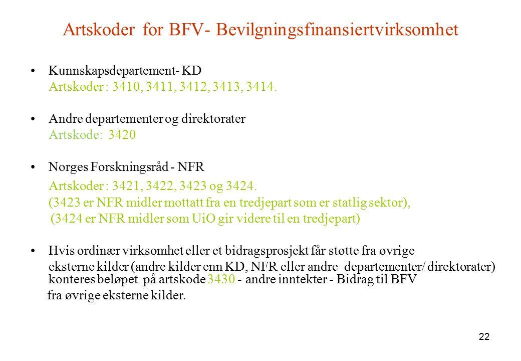 Artskoder for BFV- Bevilgningsfinansiertvirksomhet