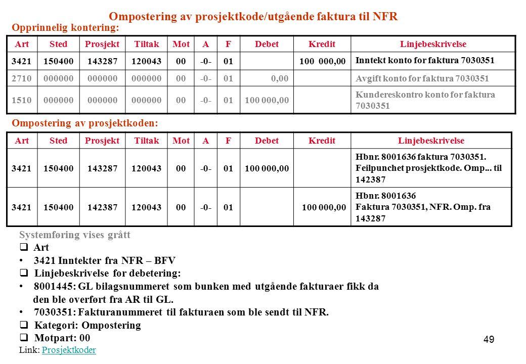 Ompostering av prosjektkode/utgående faktura til NFR