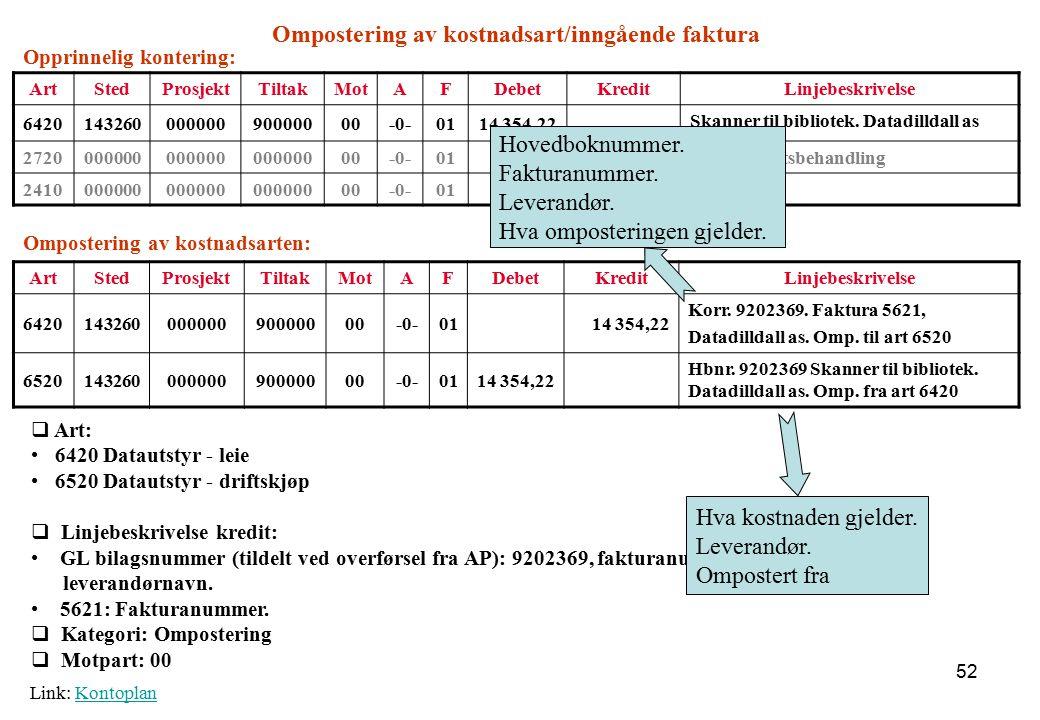 Ompostering av kostnadsart/inngående faktura