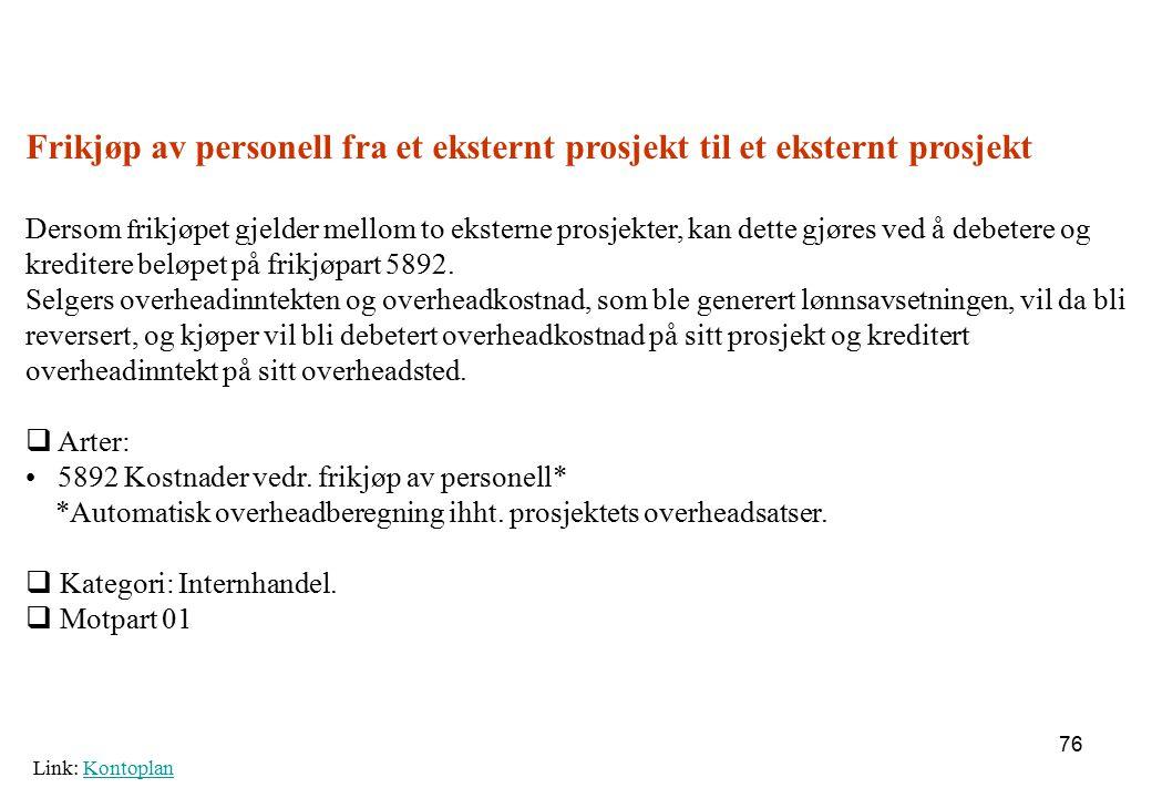 Frikjøp av personell fra et eksternt prosjekt til et eksternt prosjekt