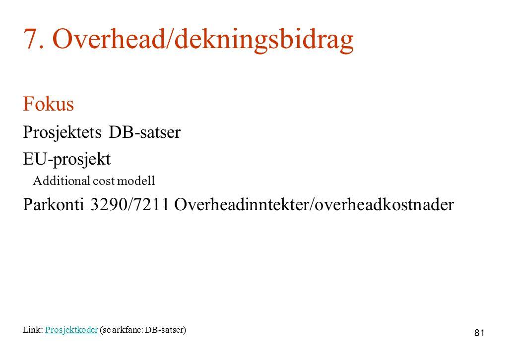 7. Overhead/dekningsbidrag