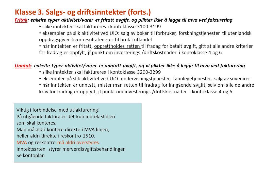 Klasse 3. Salgs- og driftsinntekter (forts.)