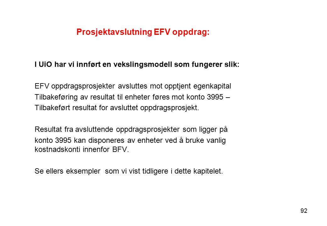 Prosjektavslutning EFV oppdrag: