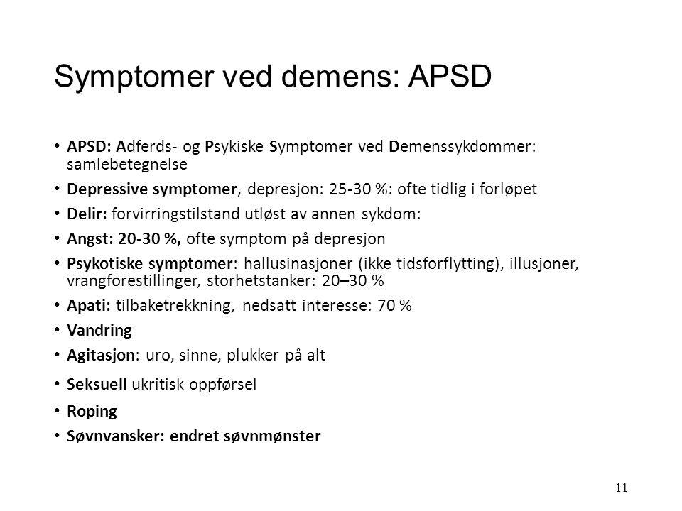 Symptomer ved demens: APSD