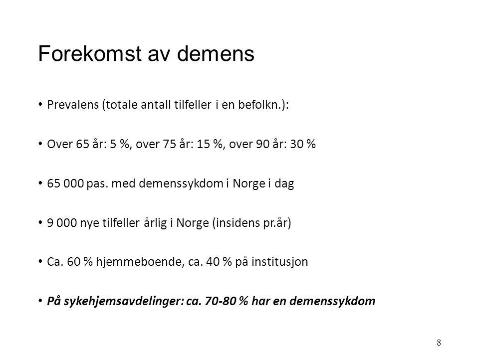 Forekomst av demens Prevalens (totale antall tilfeller i en befolkn.):
