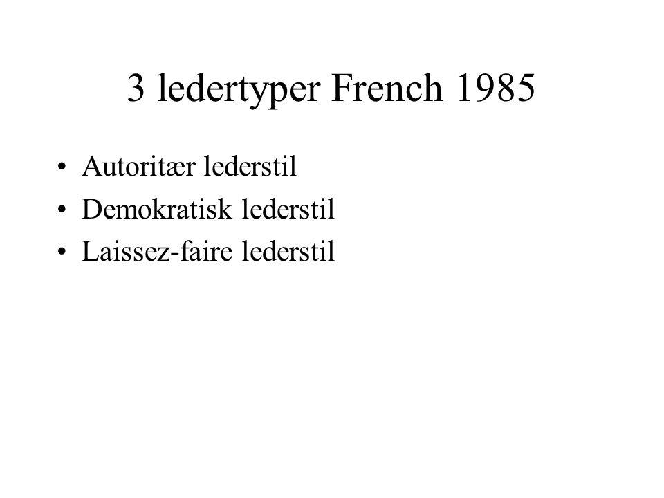 3 ledertyper French 1985 Autoritær lederstil Demokratisk lederstil