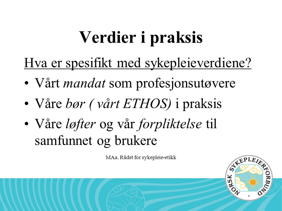 MAa. Rådet for sykepleie-etikk