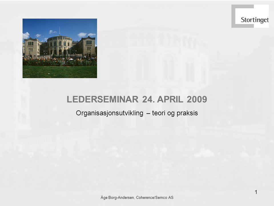LEDERSEMINAR 24. APRIL 2009 Organisasjonsutvikling – teori og praksis