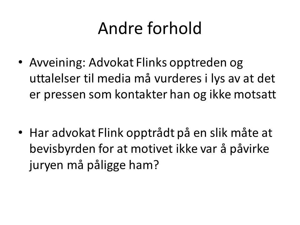Andre forhold Avveining: Advokat Flinks opptreden og uttalelser til media må vurderes i lys av at det er pressen som kontakter han og ikke motsatt.